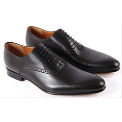 Men Black Brogue Handmade Genuine Leather Shoes with Laces
