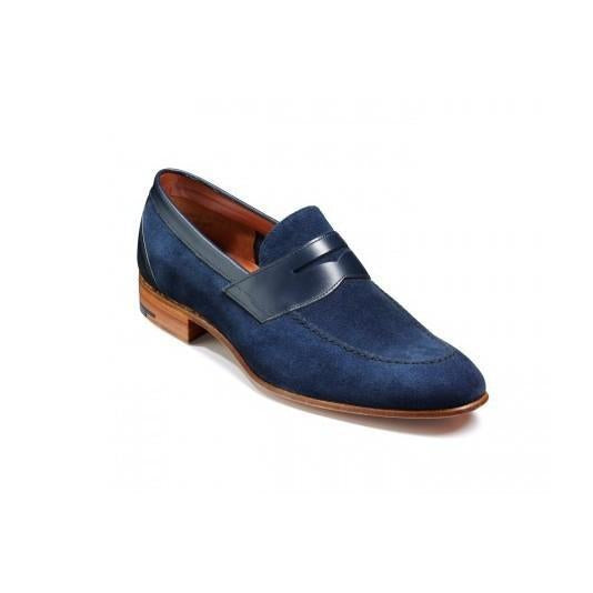 Men Blue Penny Loafer Suede Leather Shoes