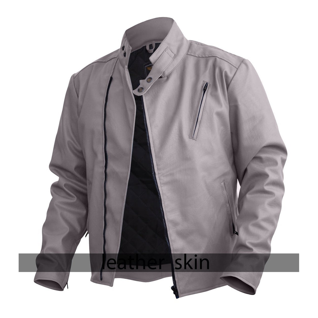 NWT Stylish White  Men Stylish Synthetic  Leather Jacket