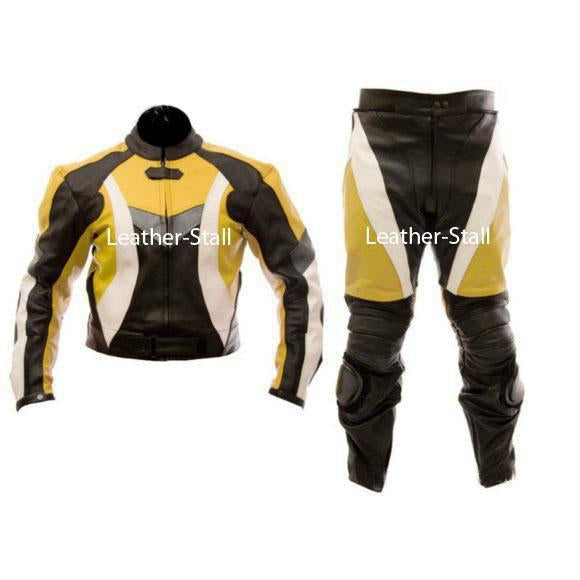 Leather Skin Yellow & Black Biker Motorcycle Genuine Leather Jacket Trouser Suit