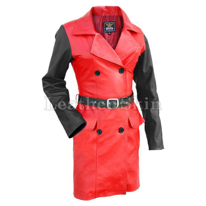 Leather Skin Women Red with Black Sleeves Genuine Leather Coat