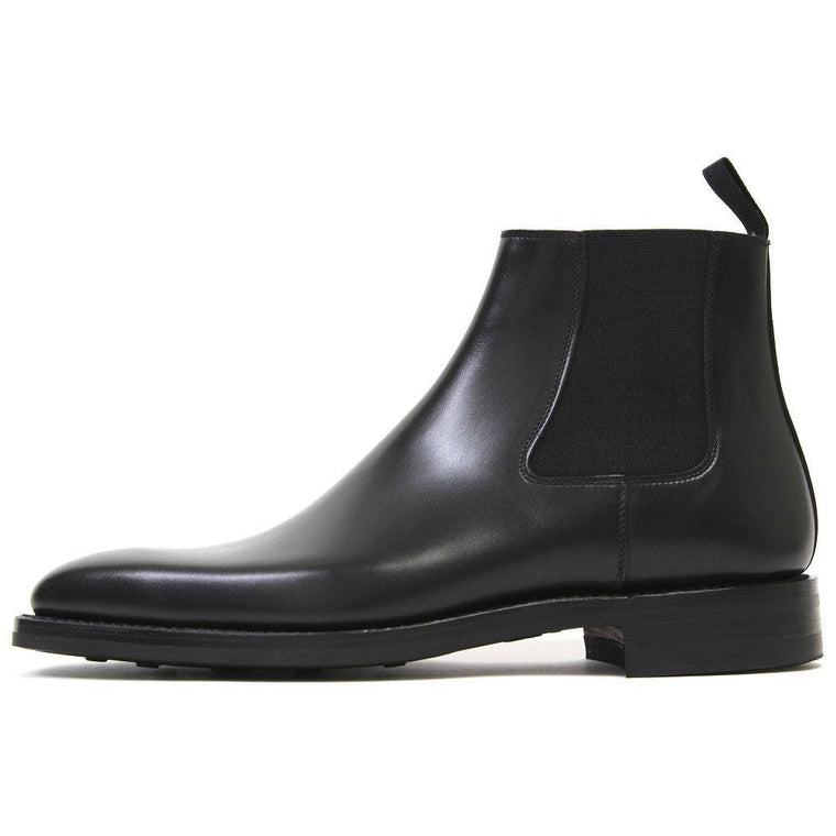 Men Black Chelsea Ankle Genuine Leather Boots