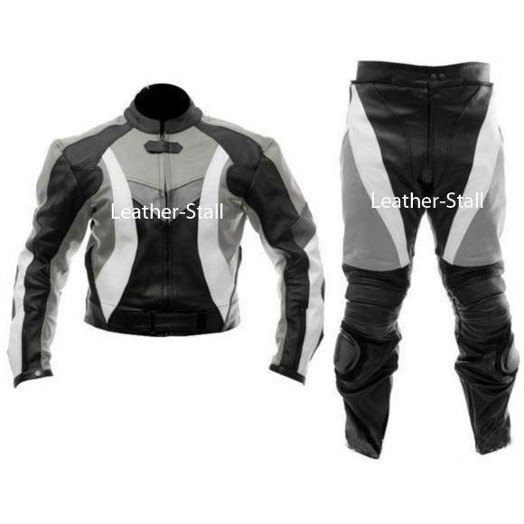 Stylish Gray & Black Biker Motorcycle Genuine Leather Jacket Trouser Suit