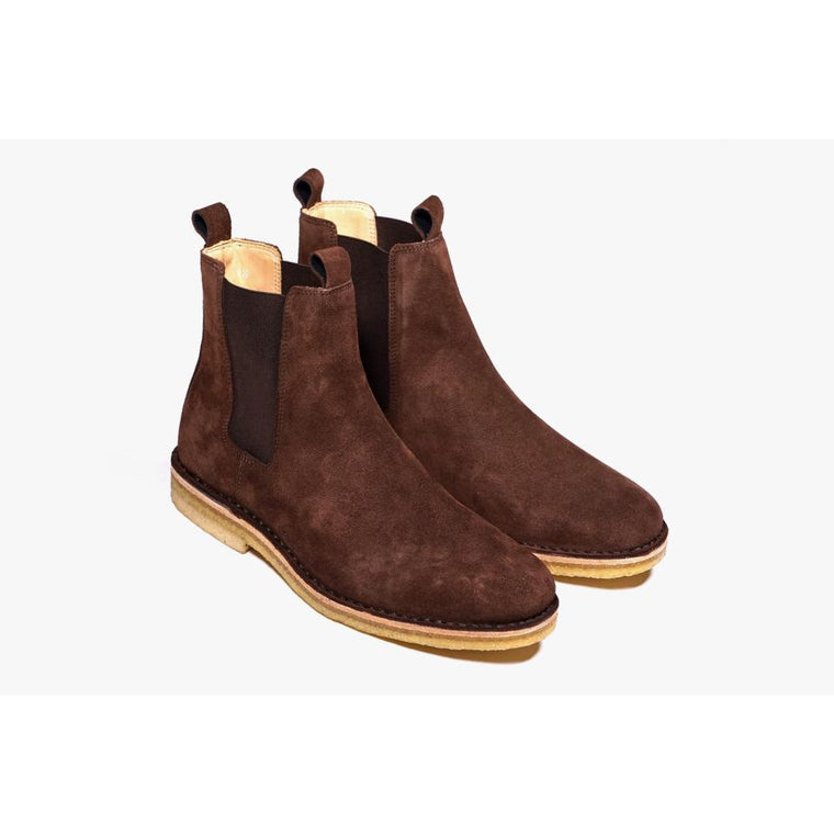 Men Black Premium Chelsea Suede Leather Boots with Brown Outsole