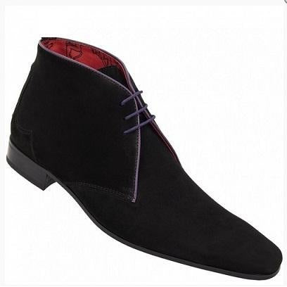 Men Black Suede Leather Shoes with Black Outsole