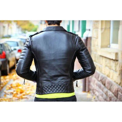 Men Black Handmade Diamond Quilted Genuine Real Leather Jacket shoulder epaulets