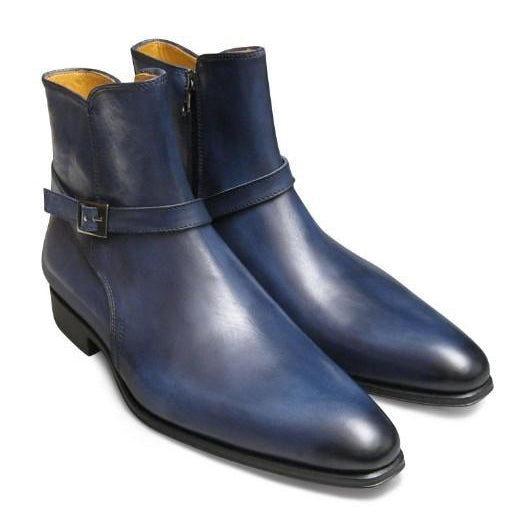 Men Blue Jodhpurs Zipped Genuine Leather Boots blue