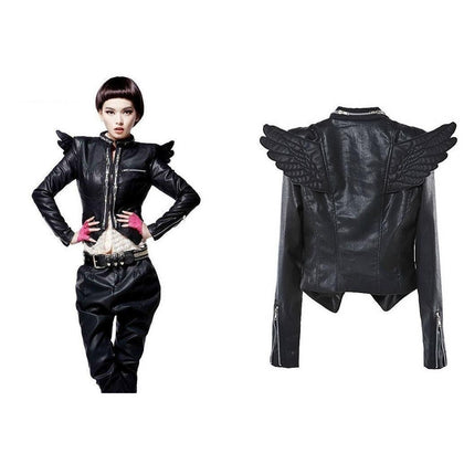 Leather Skin Women Black Genuine Leather Jacket with Angel Wings & Zippers