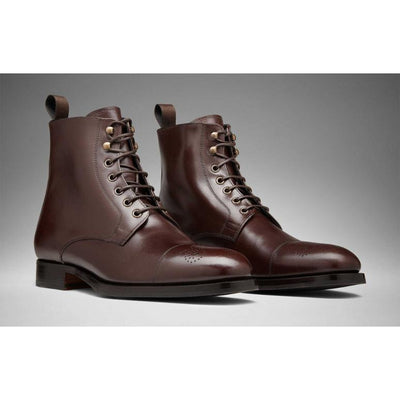 Men Brown Lace Up Ankle Brogue Genuine Leather Boots