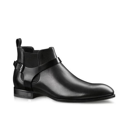 Men Black Wrap Around Monk Chelsea Genuine Leather Boots