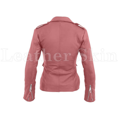Leather Skin Women Pink Brando Synthetic Leather Jacket