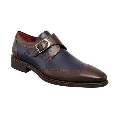 Men Brown Blue Oxford Brogue Wingtip Monk Strap Genuine Leather Shoes