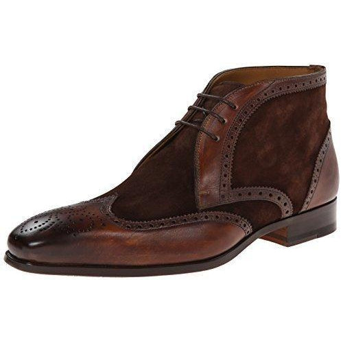 Men Brown Brogue Wingtip Suede & Genuine Chukka Leather Boots