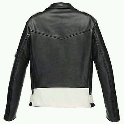 Men Black White Authentic Handmade Brando Biker Motorcycle Real Leather Jacket