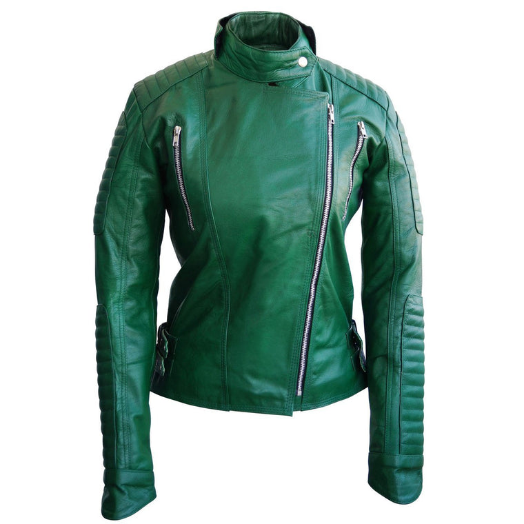 Leather Skin Green Brando Women Genuine Leather Jacket