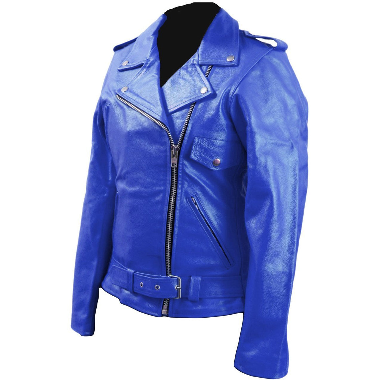 Women Blue Brando Belted Leather Jacket with Front Chest Pocket