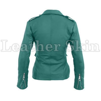 Leather Skin Women Sea Green Brando Synthetic Leather Jacket