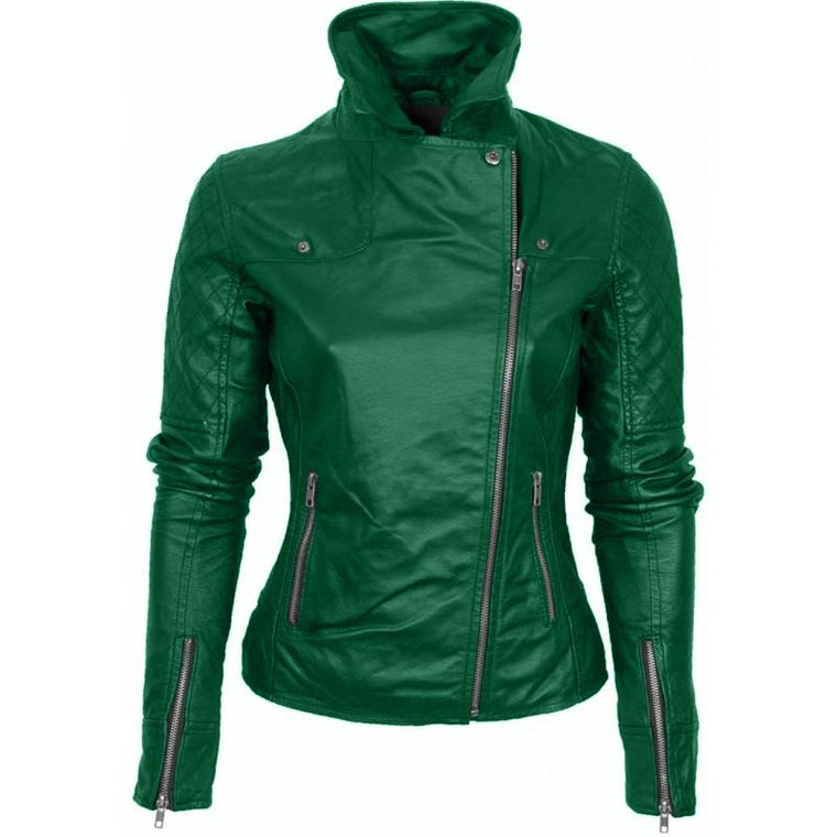 Leather Skin Women Green Brando Quilted Genuine Leather Jacket