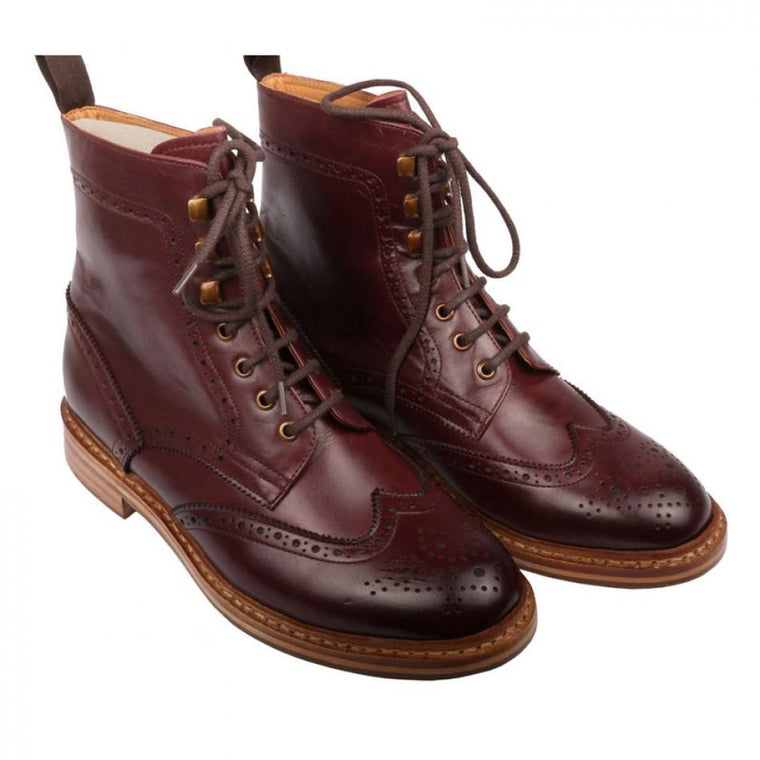 Men Maroon Brogue Wingtip Lace Up Genuine Leather Boots