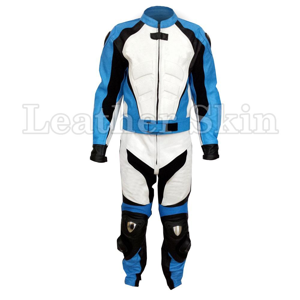Leather Skin Men Blue & White Biker Motorcycle Premium Genuine Leather Jacket Trouser Suit