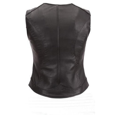 Women Ladies Genuine Black with Red Gun Club Premium Genuine Leather Vest