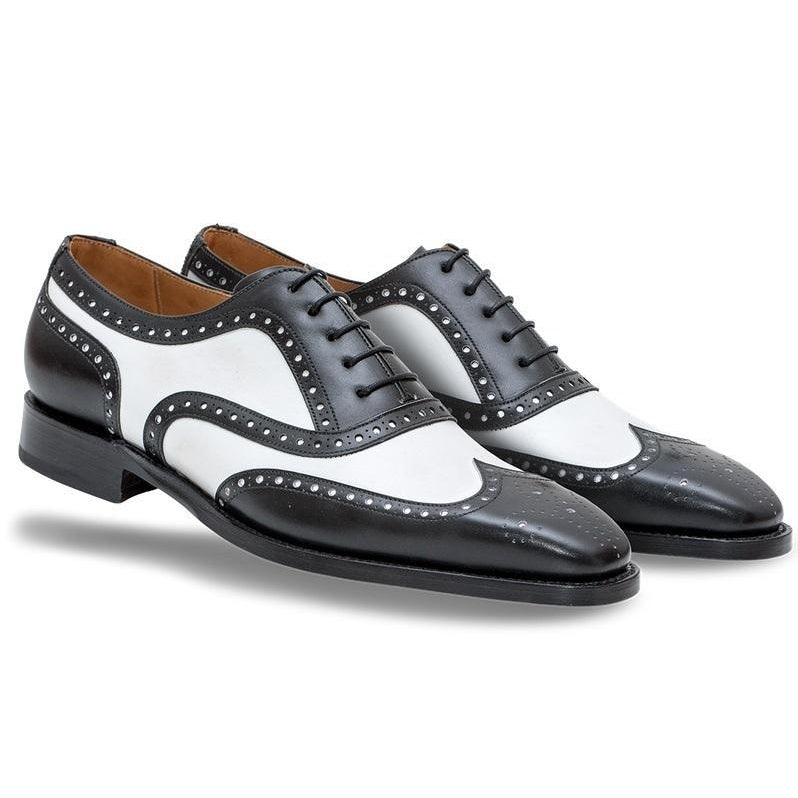 Men White Black Oxford Brogue Wingtip Genuine Leather Shoes
