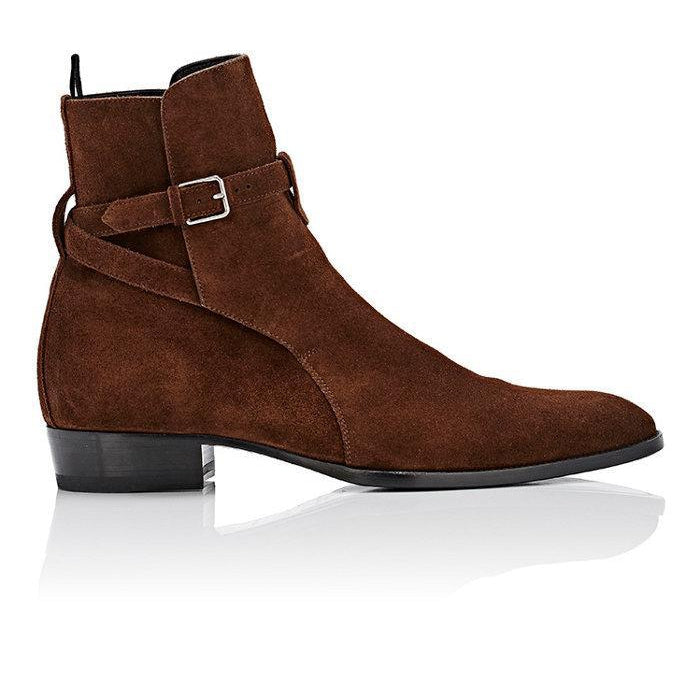 Men Brown Jodhpurs Ankle Suede Leather Boots