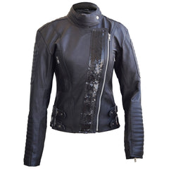 Leather Skin Women Black Genuine Leather Jacket with Black Stars