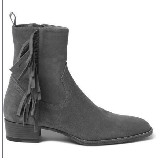 Men Gray Grey Fringes Suede Zipper Ankle Leather Boots