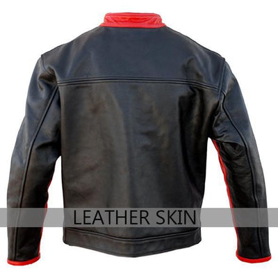 Black with Red Patches Premium Genuine Pure Leather Jacket