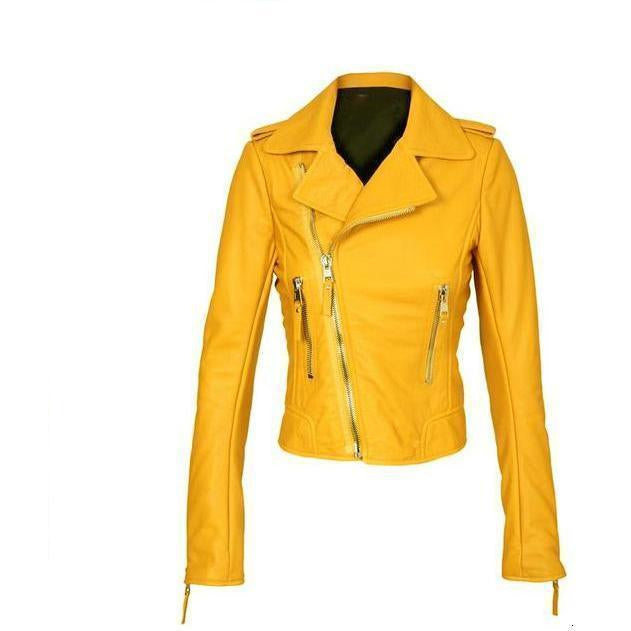 Yellow Womens Motorcycle Brando Style Biker Premium Genuine Leather Jacket XS S M L XL 2XL 3XL 4XL 5XL