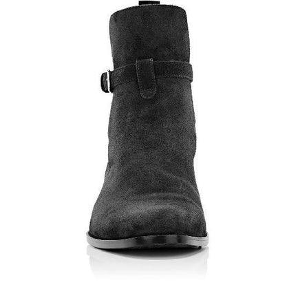 Men Gray Jodhpurs Ankle Suede Leather Boots
