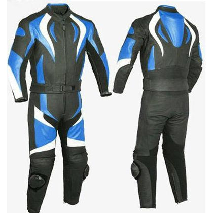 Blue Fire Style Biker Motorcycle Genuine Leather Jacket Trouser Suit