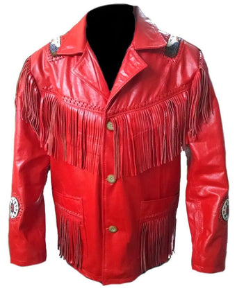 Leather Skin Men Red Western Fringes Cowboy Genuine Real Leather Jacket
