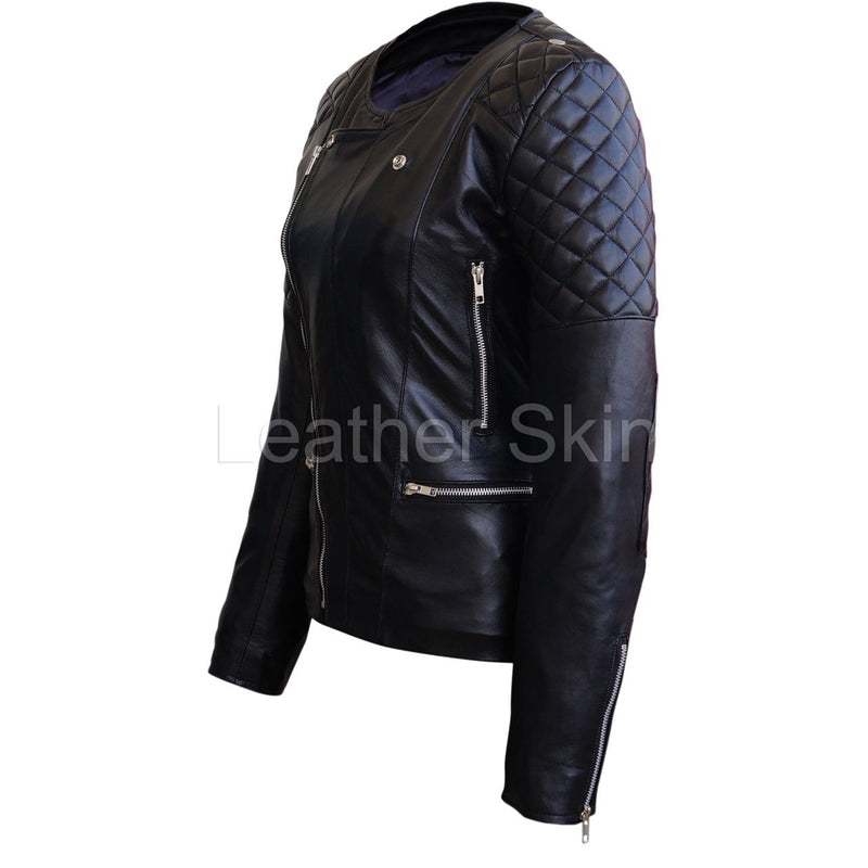 Leather Skin Women Black Brando Quilted Padded Genuine Leather Jacket