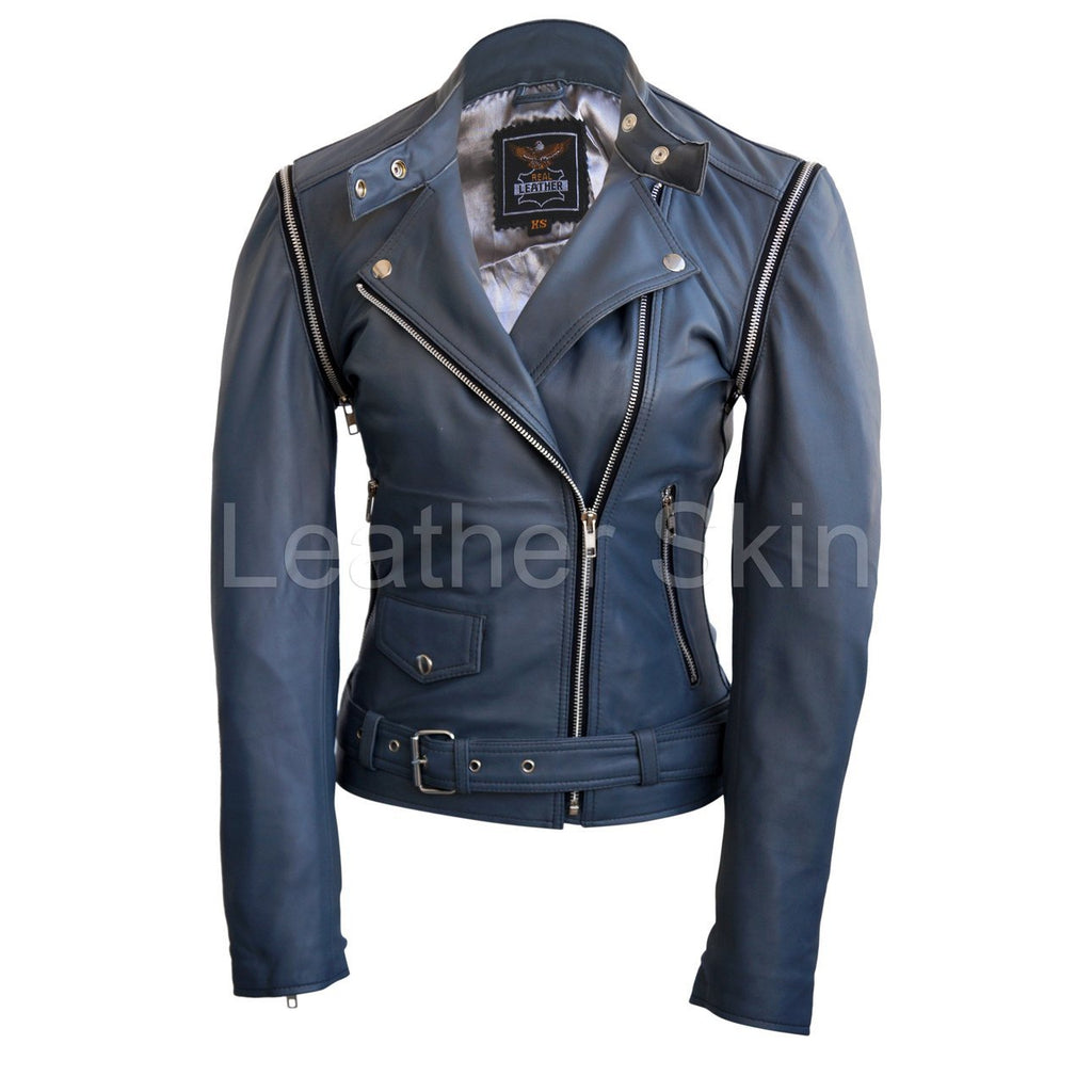 Leather Skin Women Gray Grey Brando Genuine Leather Jacket