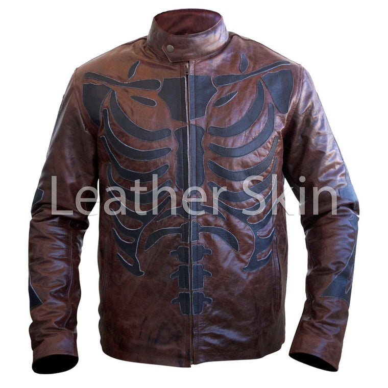 Men Two Tone Distressed Brown Black Skeleton Biker Motorcycle Leather Jacket