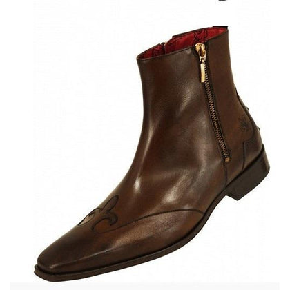 Men Brown Zipper Genuine Leather Boots