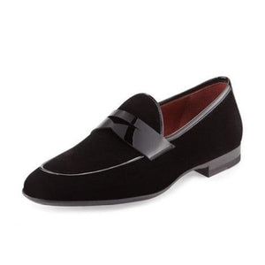 Men Black Velvet Party Penny Loafer Slipper Slip-On Leather Shoes
