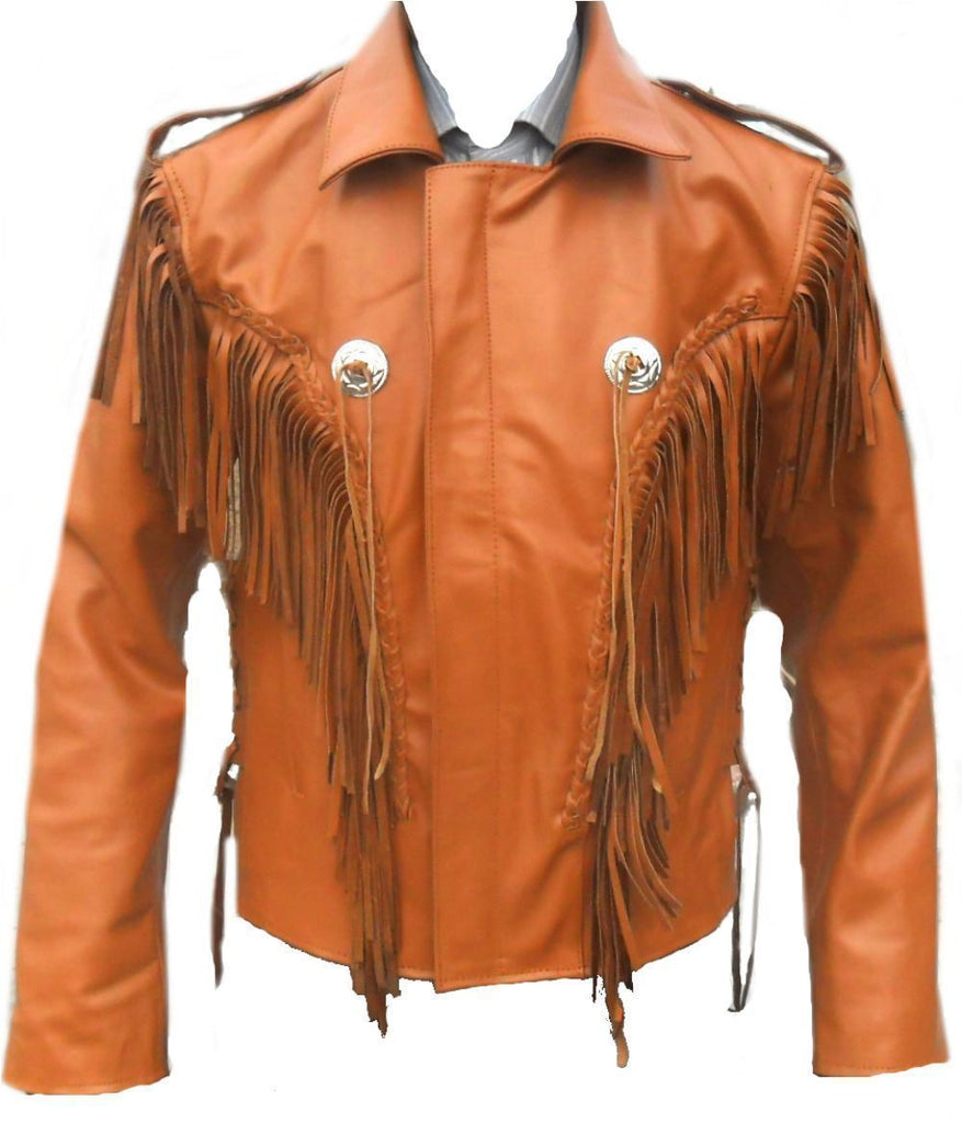 Leather Skin Men Orange Western Fringes Cowboy Genuine Real Leather Jacket