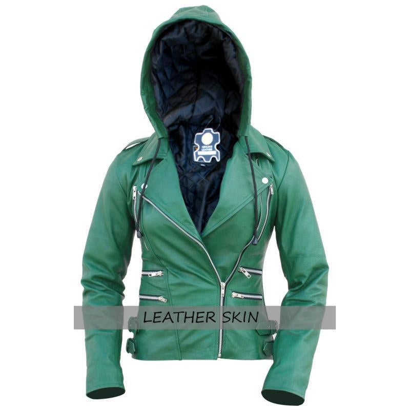 NWT Green Brando Hooded Hood Women Ladies Genuine Leather Jacket - All Sizes