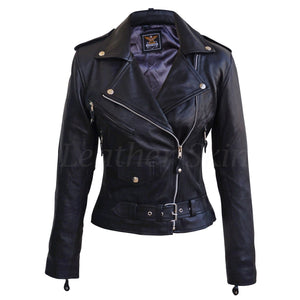 Leather Skin Women Black Brando Genuine Leather Jacket