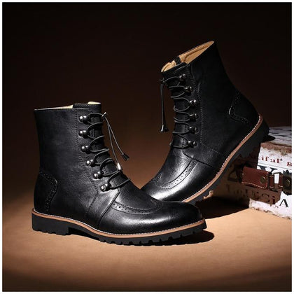 Men Black Military Lace Up Genuine Premium Leather Boots