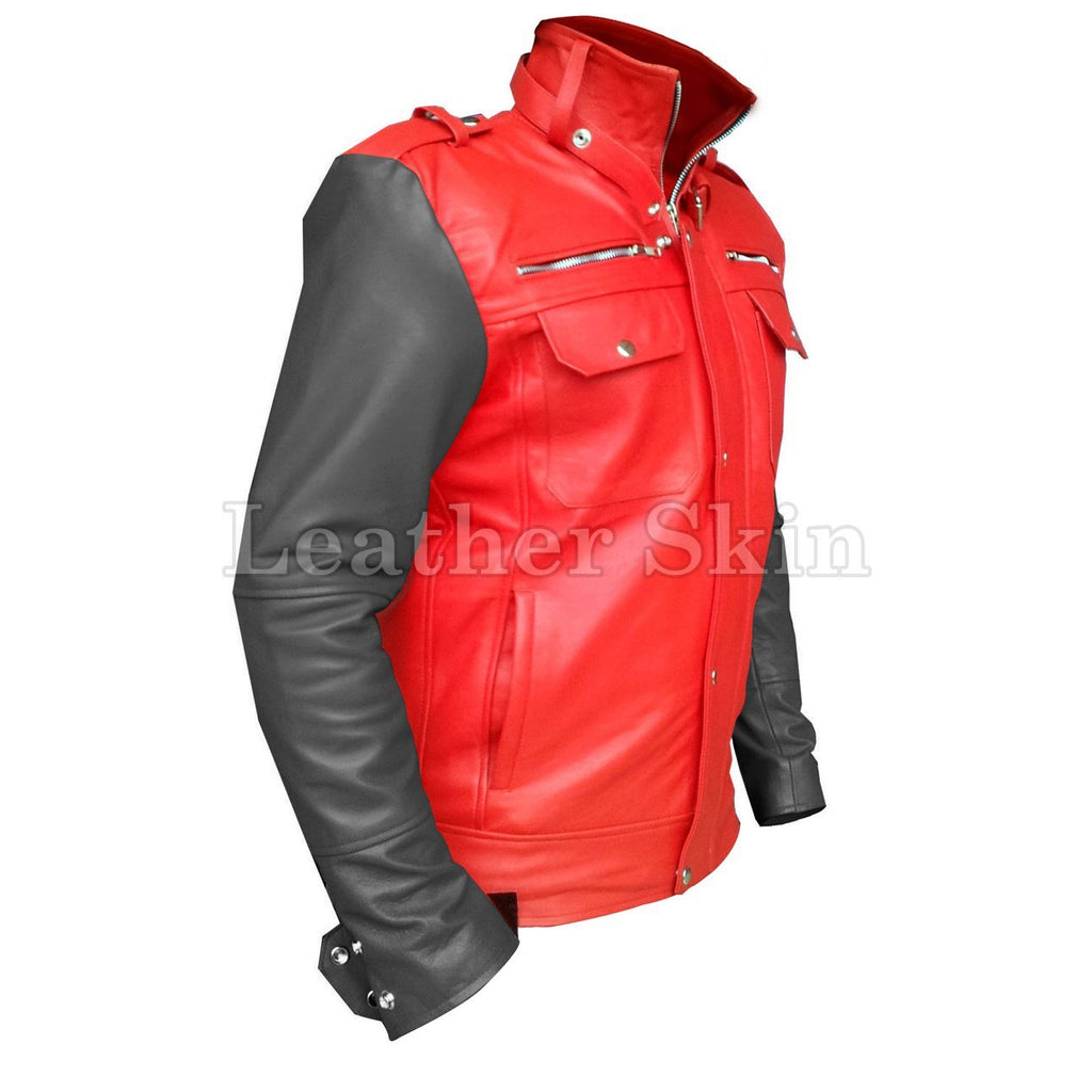 Leather Skin Men Red Genuine Leather Jacket with Black Sleeves