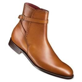 Men Tan Jodhpur Strap Genuine Leather Boots