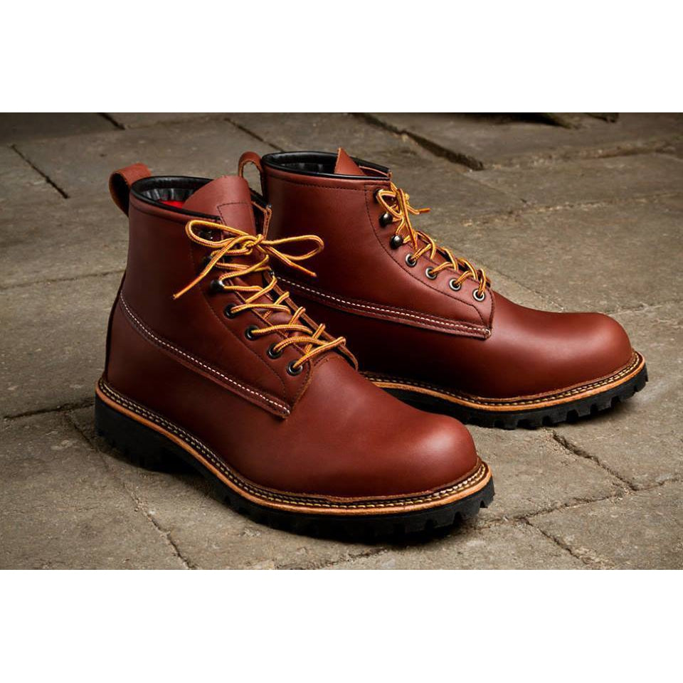 Men Red Military Lace Up Genuine Leather Boots