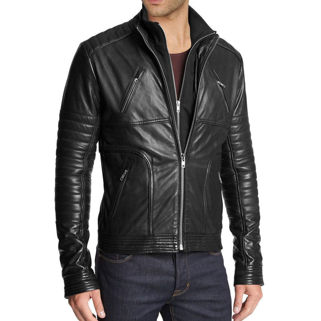 Men Black Authentic Cow Skin Double Zipper Biker Rib Quilted Leather Jacket