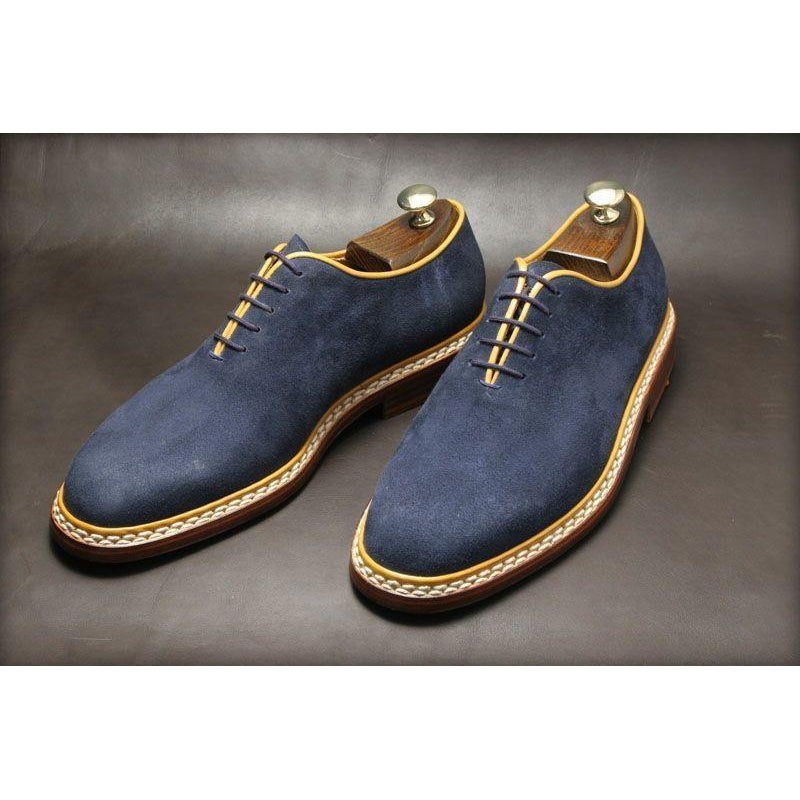 Men Blue Suede Leather Shoes with Laces
