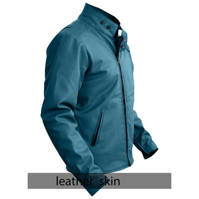 NWT Stylish Sea Green  Men Stylish Synthetic  Leather Jacket