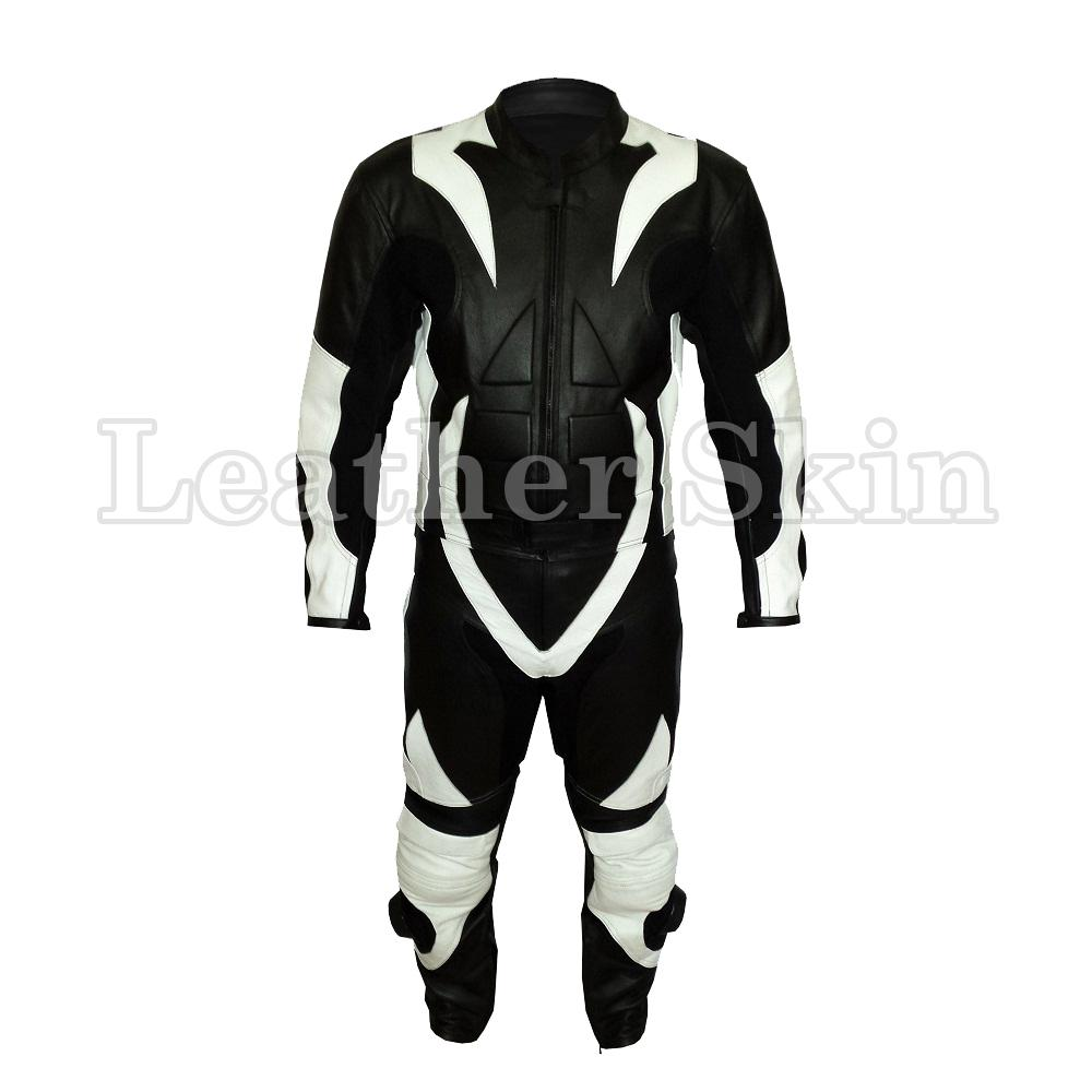 Leather Skin Black Biker Motorcycle Premium Genuine Leather Jacket Trouser Suit with White Stripes